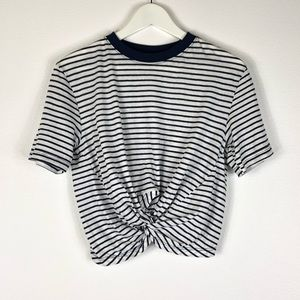 TOPSHOP Twist Front Cropped Tee Striped Navy 4 NWT
